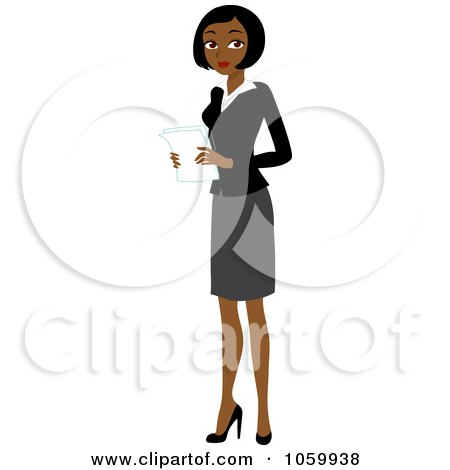 Royalty-Free Vector Clip Art Illustration of a Black Businesswoman Holding Papers by Rosie Piter