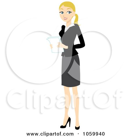 Royalty-Free Vector Clip Art Illustration of a Blond Businesswoman Holding Papers by Rosie Piter