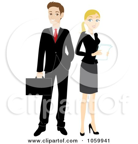 Royalty-Free Vector Clip Art Illustration of a Caucasian Business Man And Woman by Rosie Piter