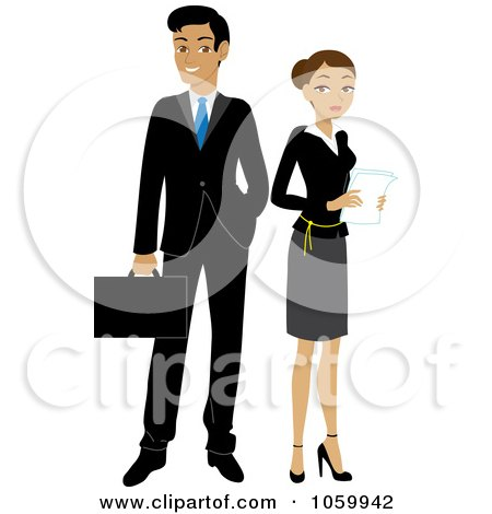 Royalty-Free Vector Clip Art Illustration of a Hispanic Business Man And Woman by Rosie Piter