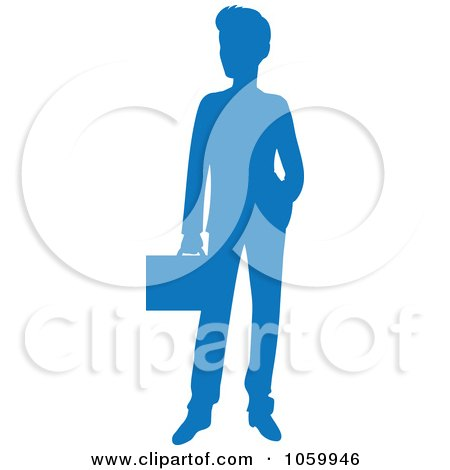 Royalty-Free Vector Clip Art Illustration of a Blue Silhouetted Businessman by Rosie Piter