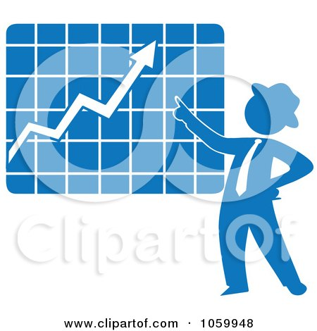 Royalty-Free Vector Clip Art Illustration of a Blue Silhouetted Businessman Discussing A Growth Chart by Rosie Piter