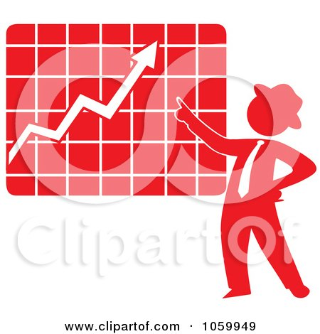Royalty-Free Vector Clip Art Illustration of a Red Silhouetted Businessman Discussing A Growth Chart by Rosie Piter