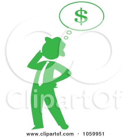 Royalty-Free Vector Clip Art Illustration of a Green Silhouetted Businessman Thinking Of Finances by Rosie Piter