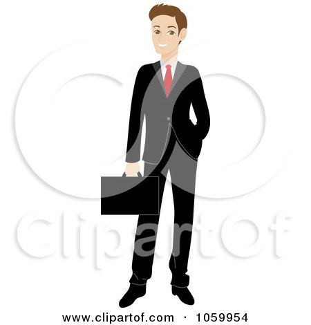 Royalty-Free Vector Clip Art Illustration of a Professional Caucasian Businessman In A Black Suit by Rosie Piter