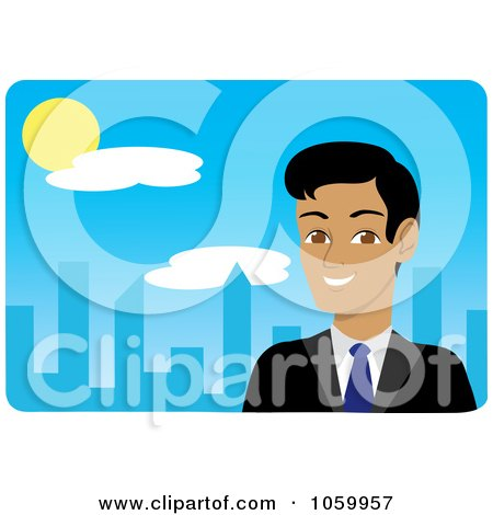 Royalty-Free Vector Clip Art Illustration of a Hispanic Businessman Near A Blue City by Rosie Piter