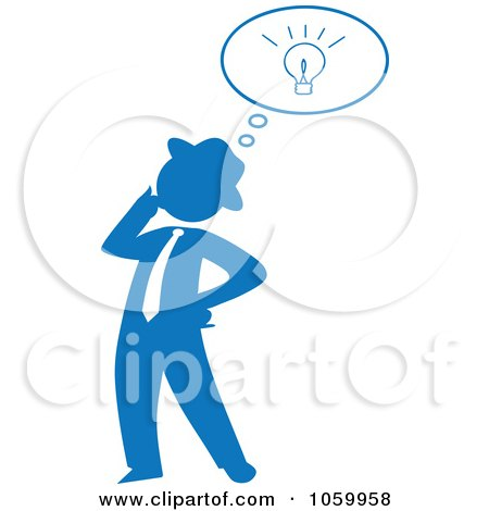 Royalty-Free Vector Clip Art Illustration of a Blue Silhouetted Businessman With An Idea by Rosie Piter