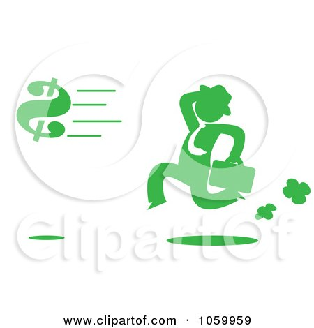 Royalty-Free Vector Clip Art Illustration of a Green Silhouetted Businessman Chasing A Dollar Symbol by Rosie Piter