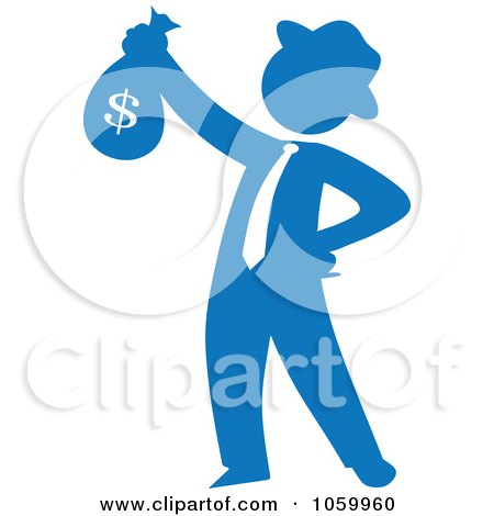 Royalty-Free Vector Clip Art Illustration of a Blue Silhouetted Philanthropist Businessman Holding A Money Bag by Rosie Piter