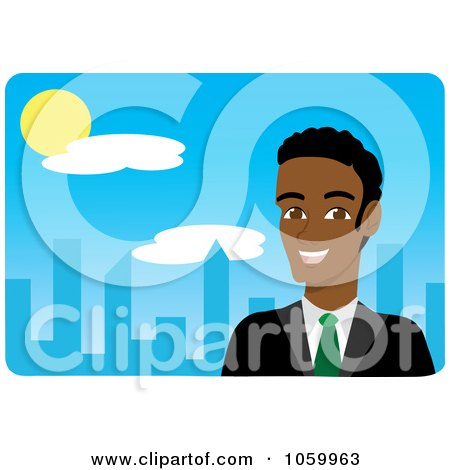 Royalty-Free Vector Clip Art Illustration of a Black Businessman Near A Blue City by Rosie Piter