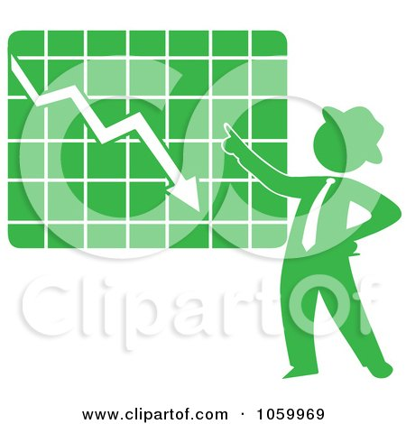 Royalty-Free Vector Clip Art Illustration of a Green Silhouetted Businessman Discussing A Decline Chart by Rosie Piter