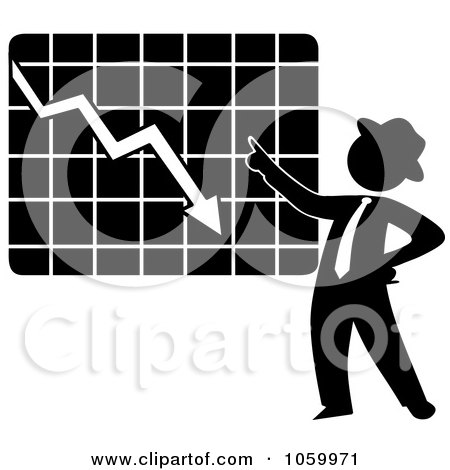 Royalty-Free Vector Clip Art Illustration of a Black Silhouetted Businessman Discussing A Decline Chart by Rosie Piter