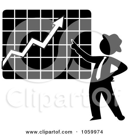 Royalty-Free Vector Clip Art Illustration of a Black Silhouetted Businessman Discussing A Growth Chart by Rosie Piter