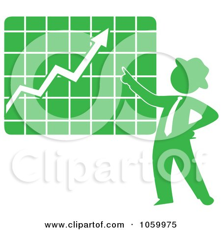 Royalty-Free Vector Clip Art Illustration of a Green Silhouetted Businessman Discussing A Growth Chart by Rosie Piter