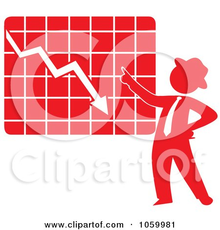 Royalty-Free Vector Clip Art Illustration of a Red Silhouetted Businessman Discussing A Decline Chart by Rosie Piter