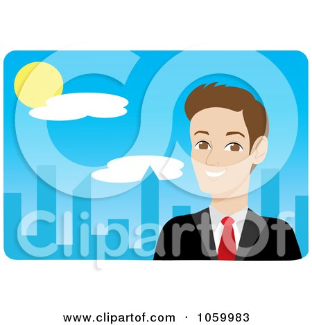 Royalty-Free Vector Clip Art Illustration of a Caucasian Businessman Near A Blue City by Rosie Piter