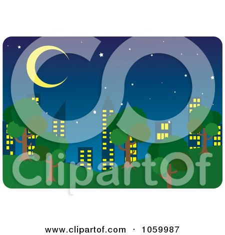 Royalty-Free Vector Clip Art Illustration of a Park And City Skyline At Night by Rosie Piter