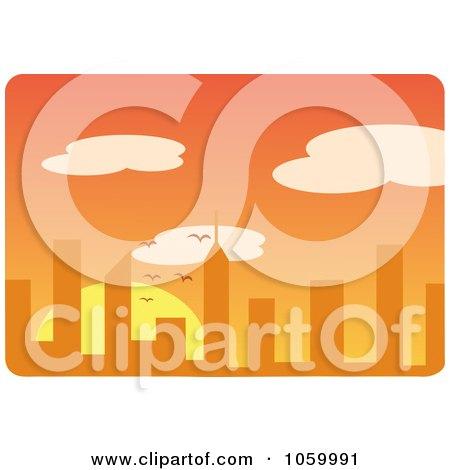 Royalty-Free Vector Clip Art Illustration of an Orange City Sunset Skyline by Rosie Piter