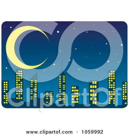 Royalty-Free Vector Clip Art Illustration of a Night Time Skyline by Rosie Piter