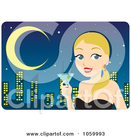 Royalty-Free Vector Clip Art Illustration of a Blond Woman Holding A Cocktail Against A City Skyline by Rosie Piter