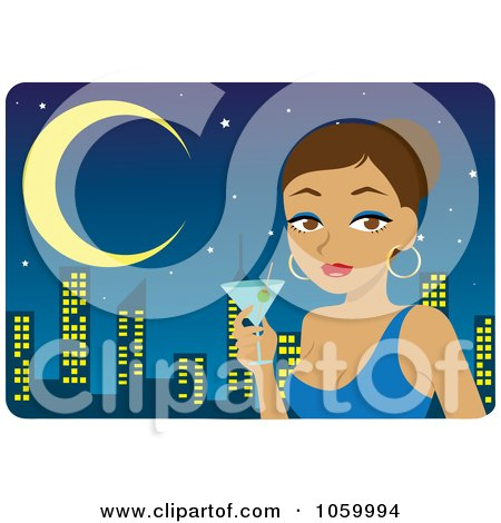 Royalty-Free Vector Clip Art Illustration of a Hispanic Woman Holding A Martini Against A City Skyline by Rosie Piter