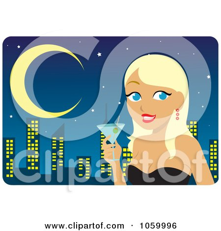Royalty-Free Vector Clip Art Illustration of a Blond Woman Holding A Martini Against A City Skyline by Rosie Piter
