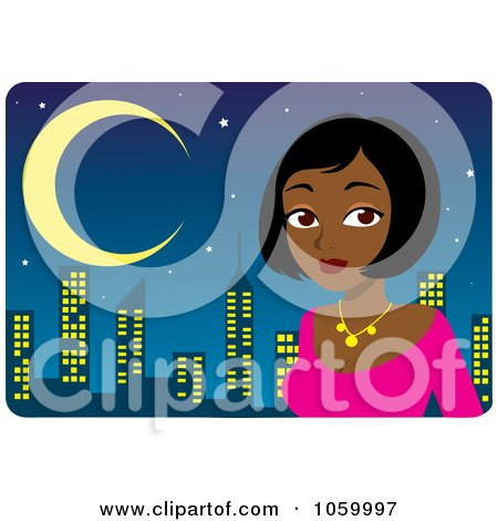Royalty-Free Vector Clip Art Illustration of a Beautiful Black Or Indian Woman Dressed Up Against A Skyline by Rosie Piter