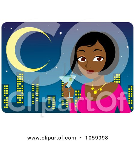Royalty-Free Vector Clip Art Illustration of a Black Or Indian Woman Holding A Martini Against A City Skyline by Rosie Piter
