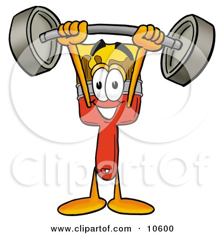 Clipart Picture of a Paint Brush Mascot Cartoon Character Holding a Heavy Barbell Above His Head by Toons4Biz