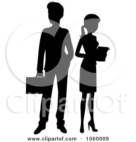 Royalty-Free Vector Clip Art Illustration of a Black Silhouetted Business Man And Woman by Rosie Piter