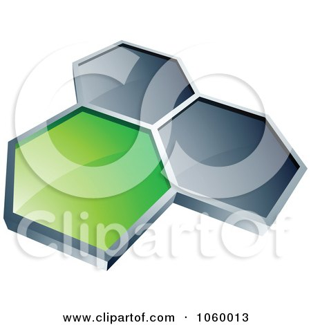 Royalty-Free Vector Clip Art Illustration of a Green Honeycomb Connected To Two Silver Ones by beboy