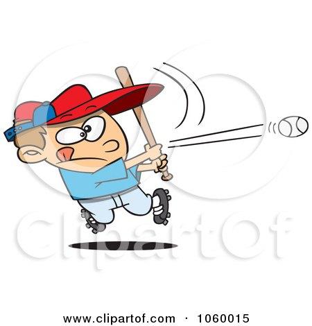 Royalty-Free Vector Clip Art Illustration of a Cartoon Baseball Boy Hitting A Home Run by toonaday