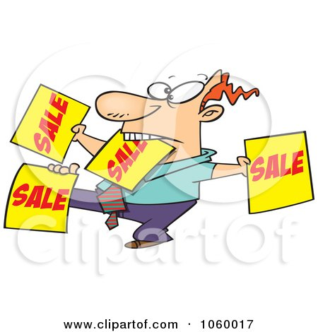 Royalty-Free Vector Clip Art Illustration of a Cartoon Salesman Holding Up Many Signs by toonaday