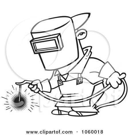Royalty-Free Vector Clip Art Illustration of a Cartoon Welder At ...