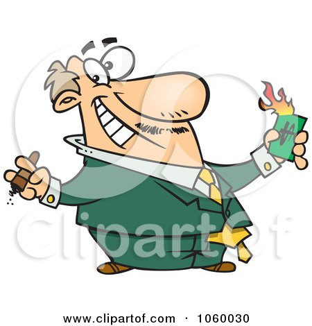 Royalty-Free Vector Clip Art Illustration of a Cartoon Wealthy Businessman Burning Money by toonaday