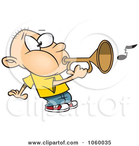 Royalty-Free Vector Clip Art Illustration of a Cartoon Boy Playing A Bugle by toonaday