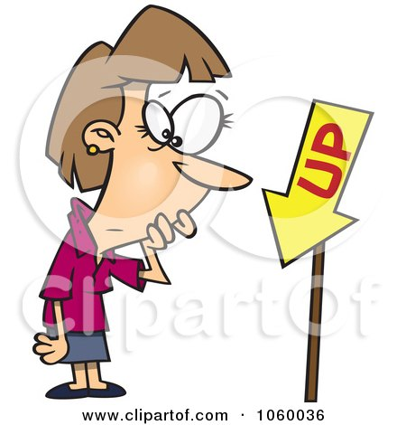 Royalty-Free Vector Clip Art Illustration of a Cartoon Businesswoman Looking At An Up Sign Pointing Down by toonaday