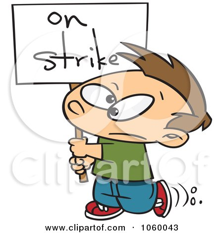 Royalty-Free Vector Clip Art Illustration of a Cartoon Boy Carrying An On Strike Sign by toonaday