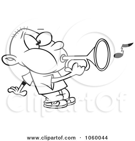 Royalty-Free Vector Clip Art Illustration of a Cartoon Black And White Outline Design Of A Boy Playing A Bugle by toonaday