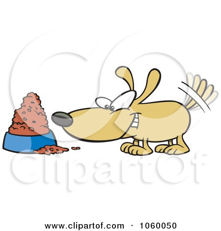 Royalty-Free Vector Clip Art Illustration of a Cartoon Dog Wagging His Tail By A Food Bowl by toonaday