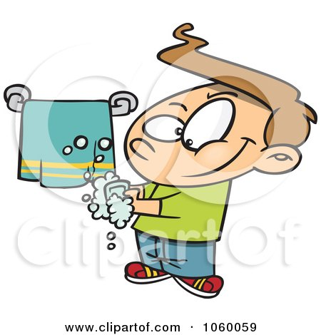 Royalty-Free Vector Clip Art Illustration of a Cartoon Clean Boy Washing His Hands by toonaday