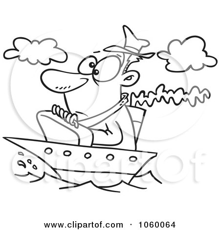 Royalty-Free Vector Clip Art Illustration of a Cartoon Black And White Outline Design Of A Man On A Tiny Ship by toonaday