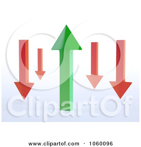 Royalty-Free CGI Clip Art Illustration of 3d Red Arrows Around A Green Arrow by Mopic