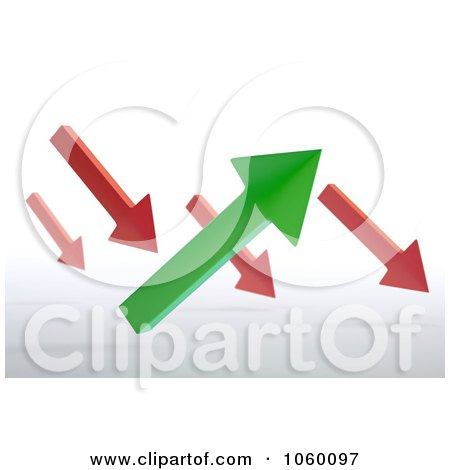 Royalty-Free CGI Clip Art Illustration of 3d Red And Green Arrows Pointing Slightly Up And Down by Mopic