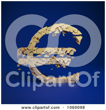 Royalty-Free CGI Clip Art Illustration of a 3d Crumbling Euro Symbol On Blue - 1 by Mopic