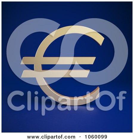 Royalty-Free CGI Clip Art Illustration of a 3d Euro Symbol On Blue by Mopic