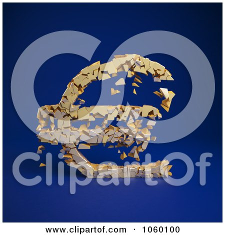 Royalty-Free CGI Clip Art Illustration of a 3d Crumbling Euro Symbol On Blue - 2 by Mopic