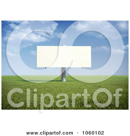 Royalty-Free CGI Clip Art Illustration of a 3d Billboard In A Field During The Day by Mopic
