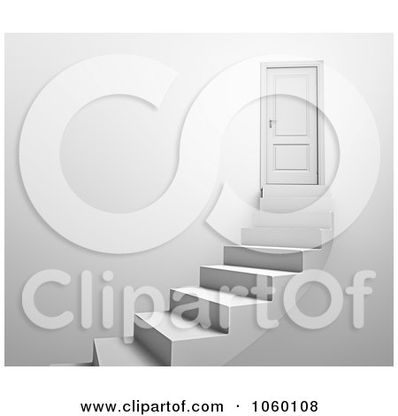Royalty-Free CGI Clip Art Illustration of a 3d Door And Curving Stairs - 1 by Mopic