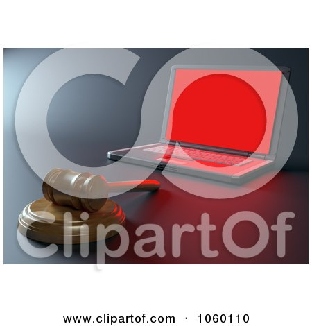 Royalty-Free CGI Clip Art Illustration of a 3d Internet Crime Gavel By A Laptop by Mopic
